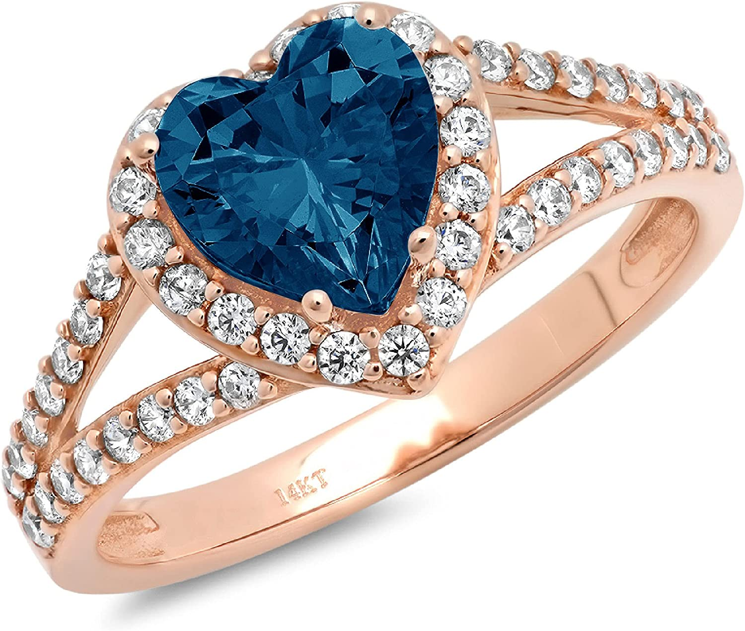 1.75 ct Heart Cut Solitaire Accent Halo split shank Genuine Flawless Natural London Blue Topaz Gemstone Engagement Promise Statement Anniversary Bridal Wedding Ring Solid 18K Rose Gold