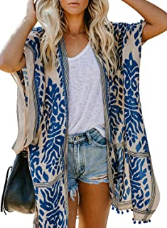 Sidefeel Women Print Kimono Cardigan V Neck Loose Beach Cover Up