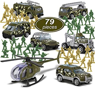 TOY Life Die Cast Metal Military Vehicles and Plastic Army Men Toy Soldiers Play Set | Military Army Toys Gift Set for Boys | Includes a Bag Army Cars and Helicopter Toy
