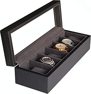 Watch Box Case with Elegant Crocodile Finish and Real Glass - Black