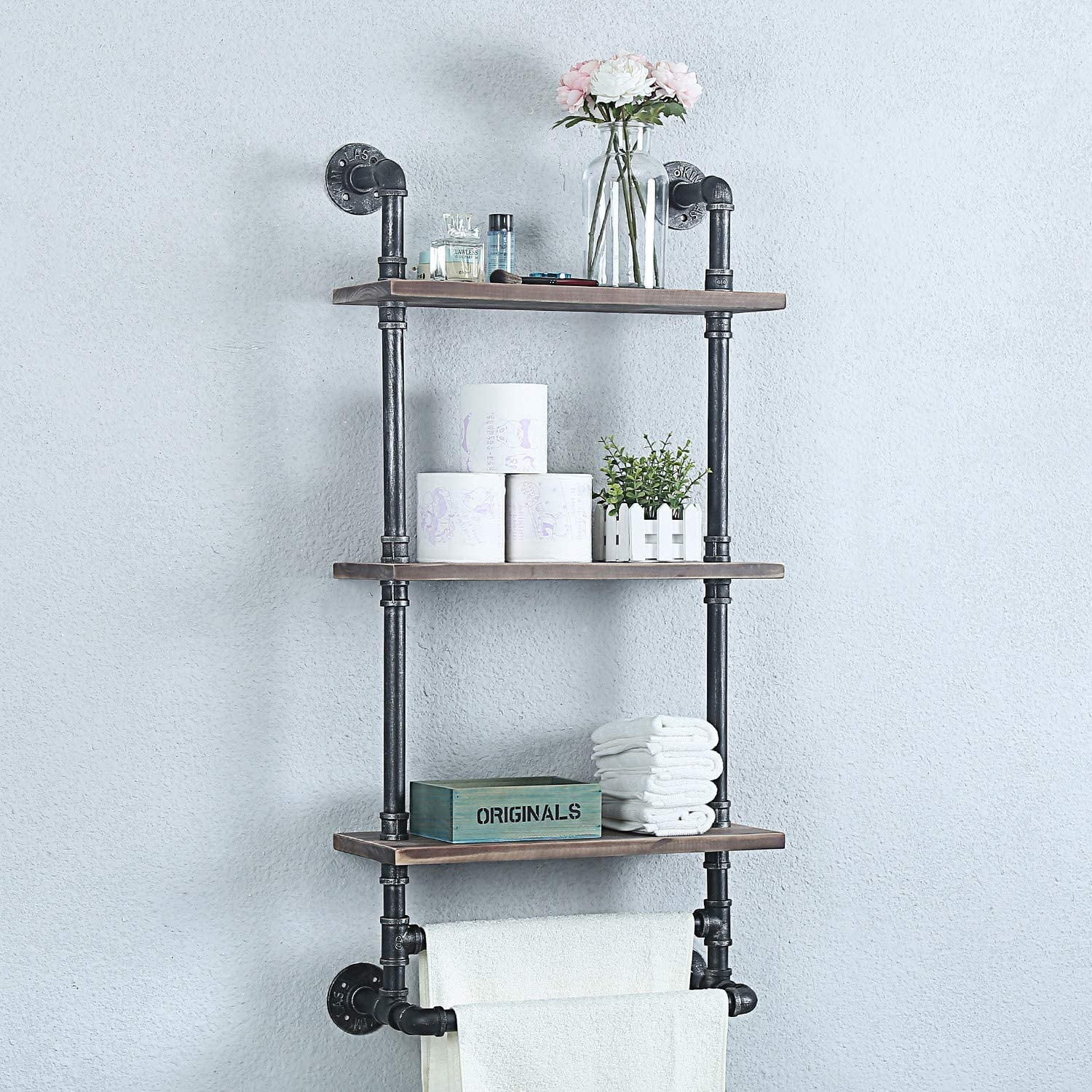 Weven Ranking TOP7 Industrial Pipe Bathroom Shelves Tier Wall 3 Metal Mounted Cash special price