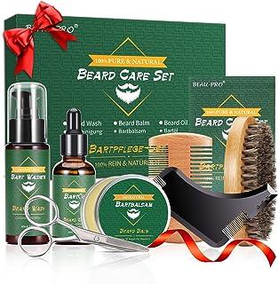 Kit Cuidado Set Barba con Libre Champu Barba,Peine Barba,Cepillo Barba,Aceite Barba,Balsamo Barba,Barba Tijeras,Bolsa de A...