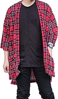 Men's Oversized Plaid Kimono Cardigan Tartan Noragi Jacket Light Flannel Top