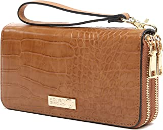 CrossLandy Women Men RFID Blocking Double Zip Leather Wallet Clutch Wristlet