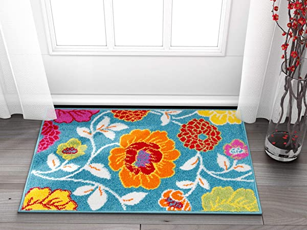 Well Woven Small Rug Mat Doormat Modern Kids Room Kitchen Rug Daisy Flowers Blue 1 8 X 2 7 Accent Area Rug Entry Way Bright Carpet Bathroom Soft Durable