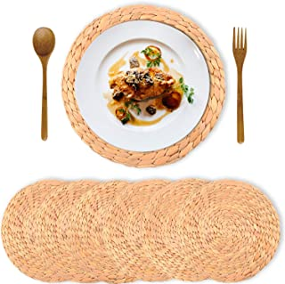 Sponsored Ad - Truth Equeen Natural Water Hyacinth Weave Placemat, Round Braided Rattan Tablemats, Round Natural Rattan Ta...