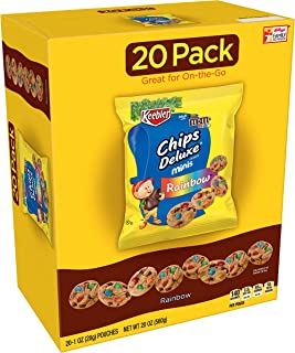 Keebler Chips Deluxe, Mini Cookies, Rainbow, with M&M's Mini Chocolate Candies, 20 oz (20 Count)