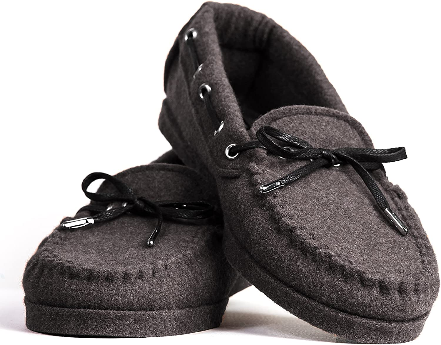 BELITI Wool Felt Warm Flat Moccasin Slippers Brown