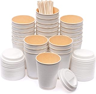 100 Packs (12 oz) To Go Rippled Sleeve-Free Paper Coffee Cups with Lid & Stirrer