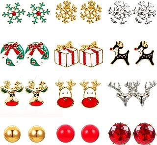 Sunssy 9-12 Pair Christmas Stud Earring for Women Christmas Gift Snowman Deer Snowflake Christmas Tree Earring Set