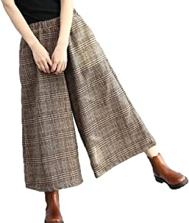 Womens Casual Loose Wool Blend Plaid Cropped Wide Leg Pants Trousers