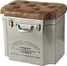 WHW Whole House Worlds Traveler Steamer Trunk, Storage Ottoman, Lift up Cozy Cushion Top, Faux Brown Leather Tufted Top, Rubbed Iron with Vintage Detailing, 20 1/2 L x 14 1/2 W x 18 1/2 H Inches