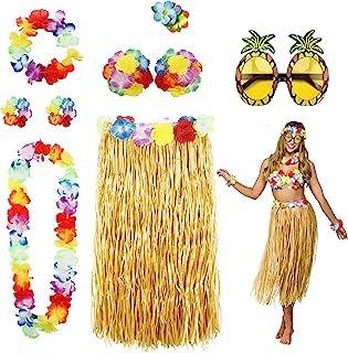 Phogary 8 Pack Hula Skirt Costume Accessory Kit for Hawaii Luau Party - Dancing Hula with Flower Bikini Top, Hawaiian Lei, Hibiscus Hair Clip, Pineapple Sunglasses for Women