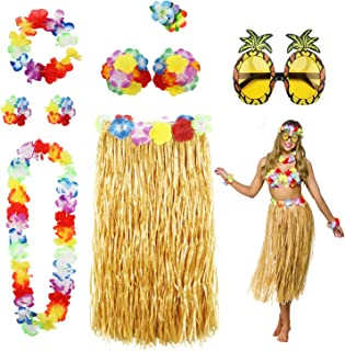 8 Pack Hula Skirt Costume Accessory Kit for Hawaii Luau Party - Dancing Hula with Flower Bikini Top, Hawaiian Lei, Hibiscus Hair Clip, Pineapple Sunglasses for Women
