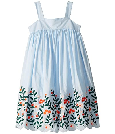 Janie and Jack Sleeveless Floral Border Dress (Toddler/Little Kids/Big Kids) (Blue) Girl