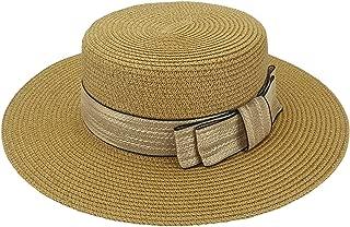 Ayliss Women Bowknot Straw Sun Hat Summer Fedoras Boater Hat
