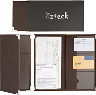 Zzteck Car Registration Holder for Insurance Card Documents Auto Organizer Luxury PU Leather Wallet Case