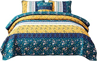 DaDa Bedding Bohemian Patchwork Bedspread - Cotton Bed of Wild Flowers Garden - Botanical Floral Quilted Coverlet Set - Bright Vibrant Yellow Blue Teal Green - Full - 3-Pieces
