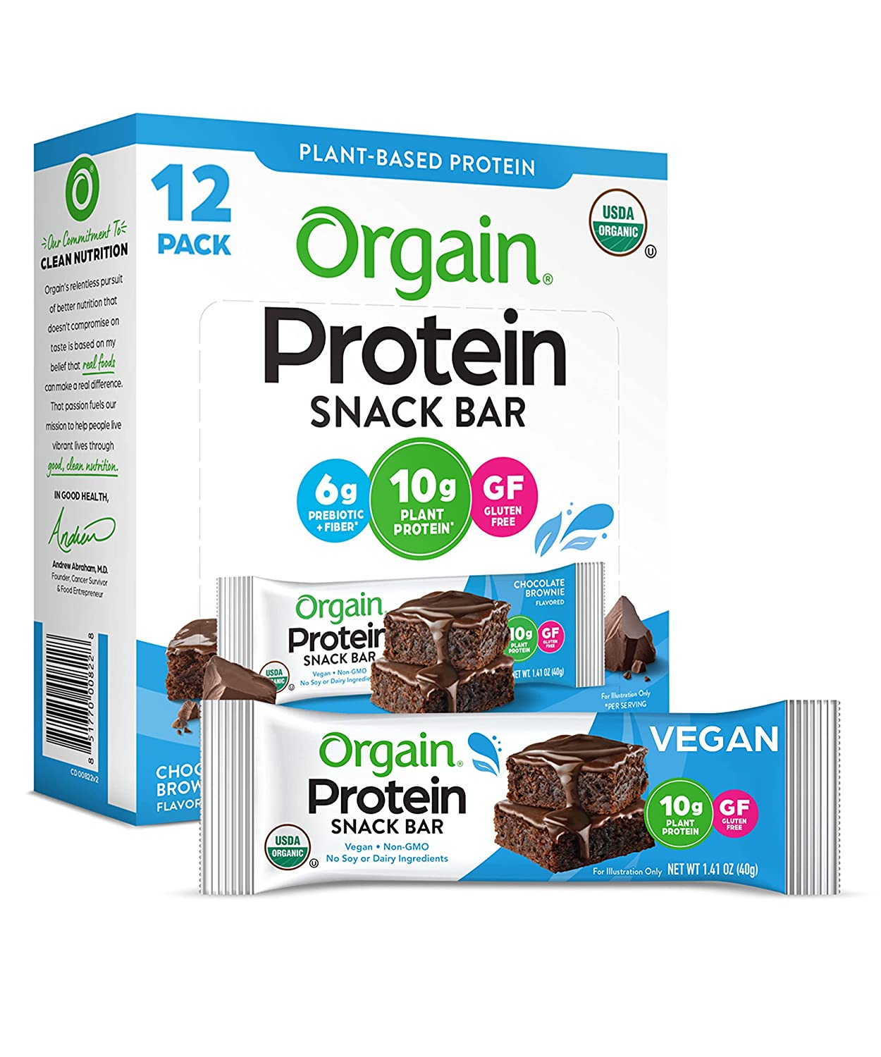 Orgain Organic Plant Based Protein Bar, Chocolate Brownie - Vegan, Gluten Free, Dairy Free, Soy Free, Lactose Free, Kosher, Non-GMO, 1.41 Ounce, 12 Count (Packaging May Vary)