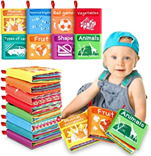 Tencoz Baby Cloth Books, My First Non-Toxic Soft Cloth Book Early Education Toys Gifts Crinkle Book for Babies Infants, To...