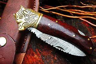 DKC Knives Sale NS (2 7/18) DKC-528 Bear Watcher Damascus Steel Folding Pocket Knife 4.5