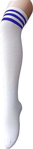 Zando Women Thin Stripes Tube Thigh High Tights Over Knee Socks Casual High Stockings