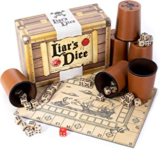 Liar's Dice Game Set - Classic Family Bluffing Game - Treasure Chest Includes Six Professional Bicast Leather Dice Cups, 3...