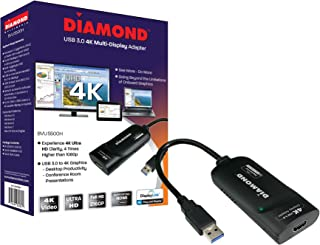 Diamond BVU5500H USB to HDMI 4K/2K Video Graphics Adapter with Audio for Multiple Monitors ( 3840 X 2160 ) supports Windows 10,8.1,8,7. (Renewed)