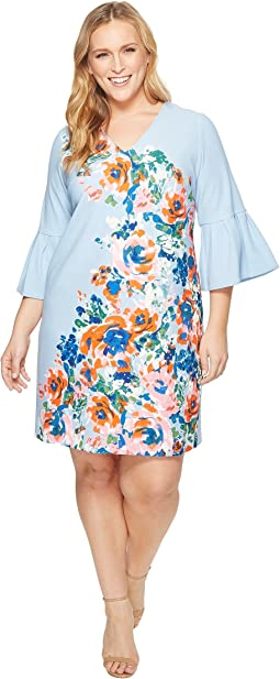 Donna Morgan - Plus Size Placement Floral Print Shift Dress with Bell Sleeve