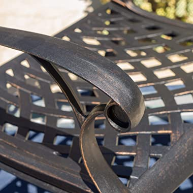 Christopher Knight Home Austin Outdoor Cast Aluminum Dining Chairs, 2-Pcs Set, Shiny Copper