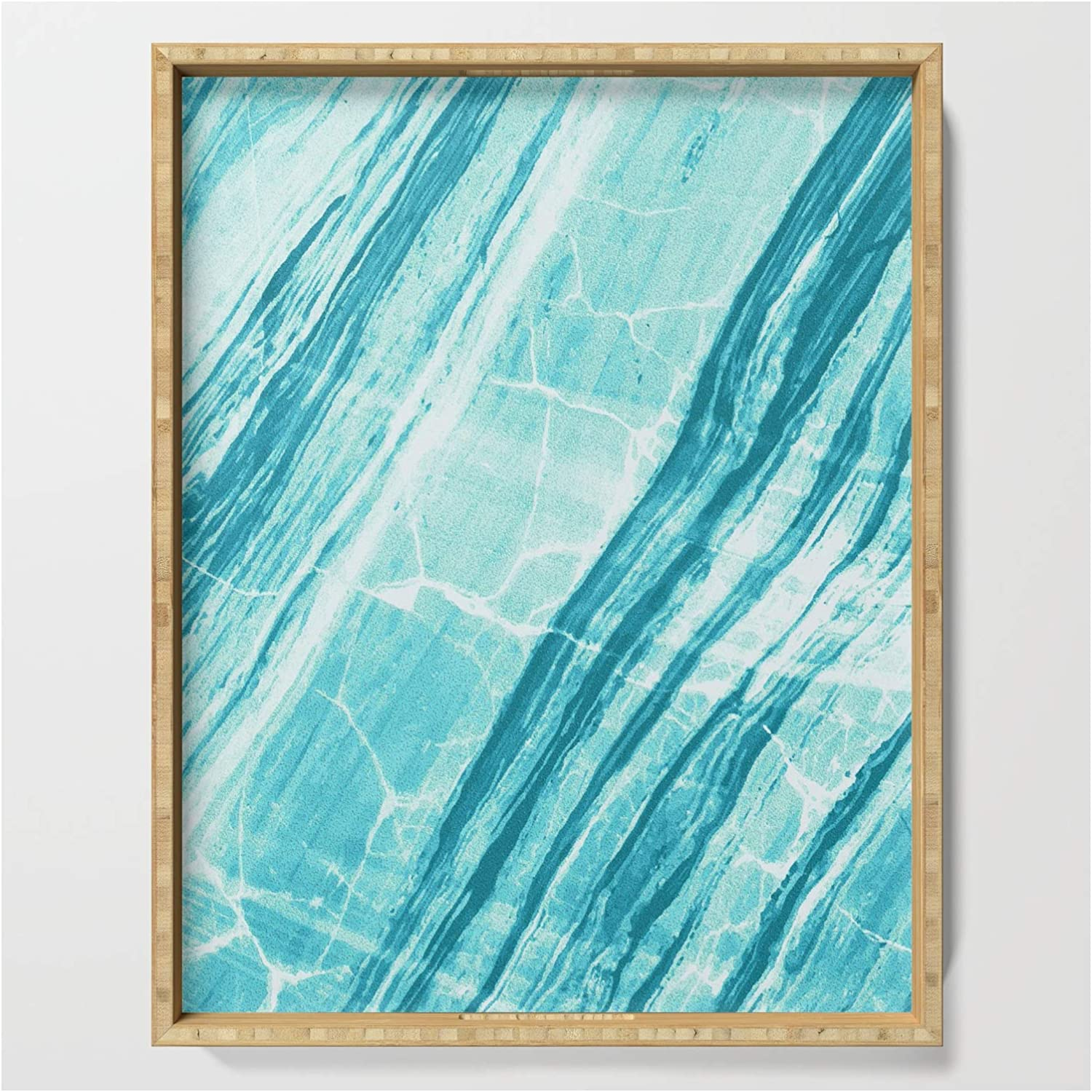 Detroit Mall Abstract Marble - Teal Turquoise Serving Silverpegasus on Sale SALE% OFF by Tra