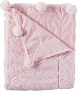 Mud Pie Pom Pom Velour Baby Blanket, Pink