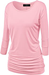 Made By Johnny Women's Crew/V Neck 3/4 Sleeve Drape Dolman Shirt Top with Side Shirring XS-5XL Plus Size-Made in USA