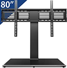 FITUEYES Universal TV Stand/Base Swivel Tabletop TV Stand with Mount for 50 to 80 inch Flat Screen TV 100 Degree Swivel, 4 Level Height Adjustable,Tempered Glass Base,Holds up to 198lbs Screens