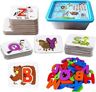 Numbers and Letters Flash Cards Set ABC Wooden Jigsaw-Number and Alphabets Animal Card Board Matching Puzzle Game Preschoo...