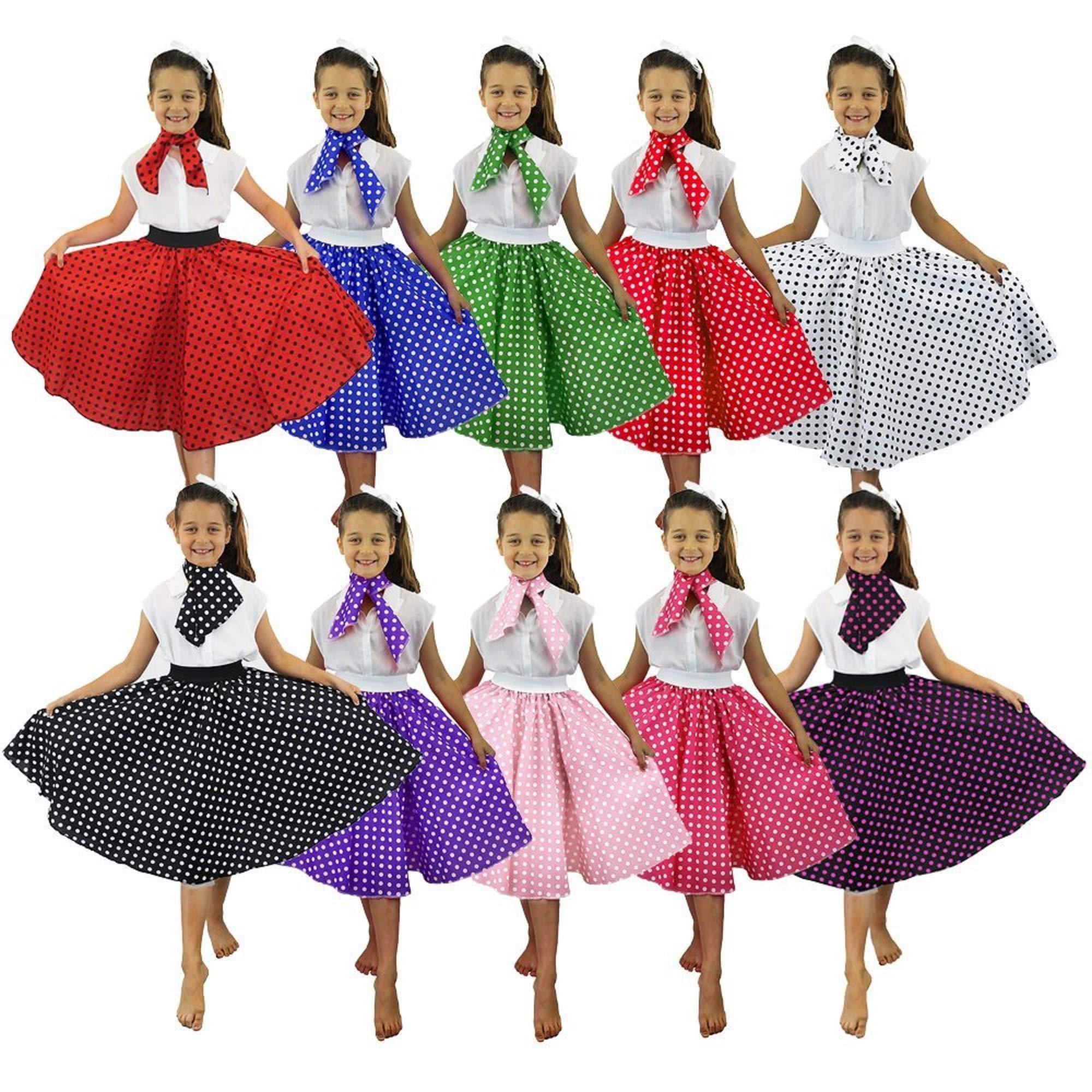 I LOVE FANCY DRESS LTD Falda Longa ROJA con Puntos Negros Lunares ...