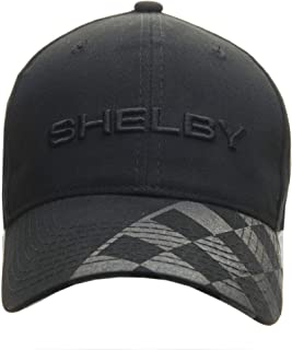 Shelby Black on Black Checkered Brim Hat | Officialy Licensed Shelby Product | Adjustable, One-Size Fits All | Hook and Lo...