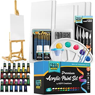 KEFF Creations Complete Acrylic Paint Kit- 54 Piece Professional Artist Painting Supplies Set, Art Painting, 24 Acrylic Pa...