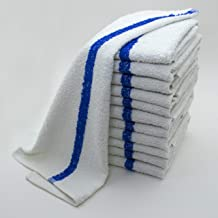 Zuma Clean - Bar Mop Towels Set of 12, 100% Terry Cotton (Best Absorbent), 16 x 19 Inches, Restaurant Cleaning Towels (Blue Stripe)