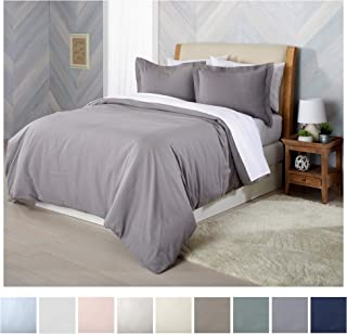 Extra Soft Flannel Duvet Cover with Button Closure. 100% Turkish Cotton 3-Piece Set with Pillow Shams. Nordic Collection (Full/Queen, Frost Grey)