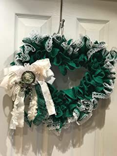 Green Burlap Heart Wreath