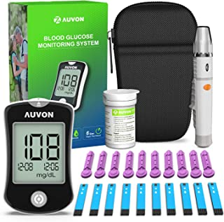 AUVON DS-W Blood Sugar Kit (No Coding Required), High-Tech Diabetes Blood Glucose Meter with 10 Test Strips, 10 30G Lancets, Lancing Device