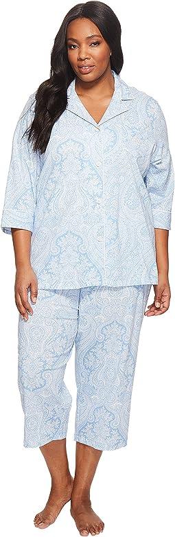 LAUREN Ralph Lauren - Plus Size Notch Collar Capri PJ Set