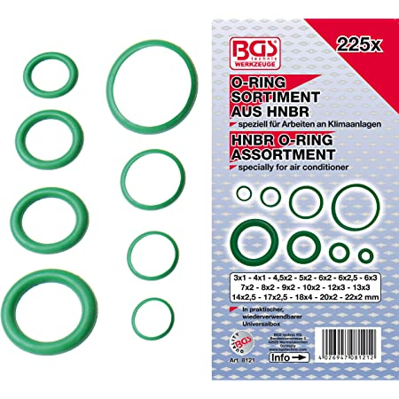 Bgs 8121 Hnbr O Ring Sortiment Durchmesser 3 22 Mm 225 Teilig Baumarkt