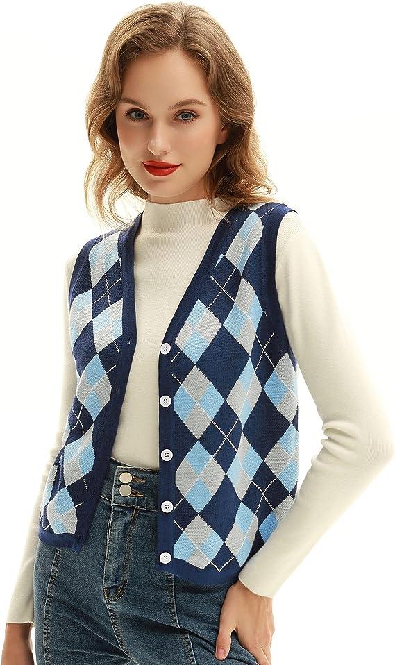 1950s Style Clothing & Fashion Belle Poque Women Vintage Sweater Vest V-Neck Sleeveless Sweater Vest Top  AT vintagedancer.com