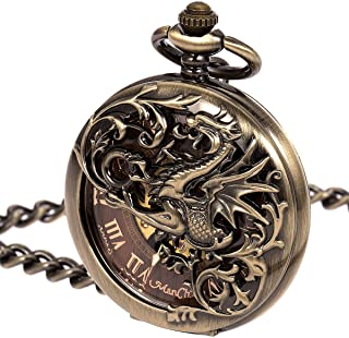 ManChDa Mens Antique Skeleton Mechanical Pocket Watch with Chain- Dragon Hollow Hunter