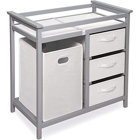 Baby Changing Table w//Organizer Grey Large Storage 3 Drawers and Hamper with Changing Table Pad