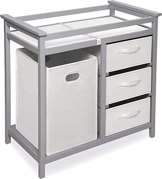 Modern Baby Changing Table With Laundry Hamper 3 Storage Baskets And Pad