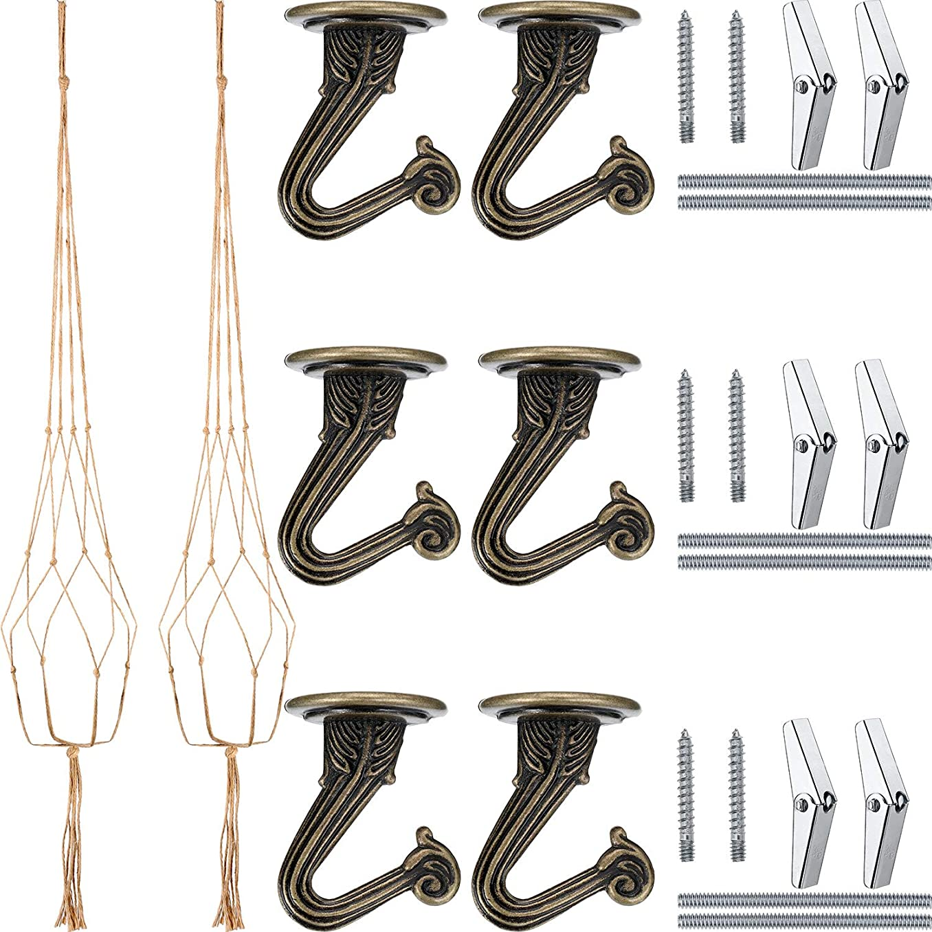 6 Sets Swag Ceiling Hooks Steel Screws Bolts and Toggle Wings with 2 Pieces Large Flower Pot Hanger Basket Holder for Ceiling Hanging Decorations (Bronze)