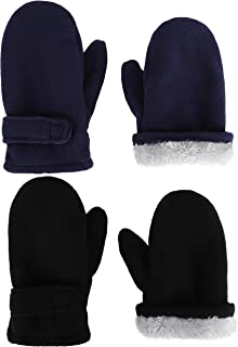 Baby Toddler Winter Warm Mittens Little Kids Sherpa Fleece Lined Gloves for Baby Girls Boys 2 Pairs
